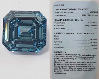 Бриллиант CVD (asscher 2.17 ct  VS1 Fancy Vivid Blue)
